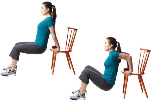 Chair Dips exercice pour perdre des bras